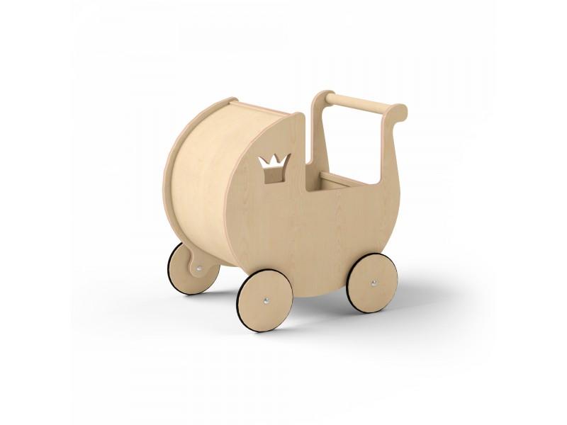 Детская коляска для кукол натуральное дерево