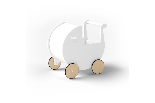 Детская коляска для кукол белая