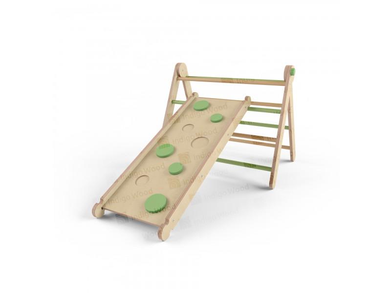 Детский спортивный комплекс Треугольник Пиклер и Горка green