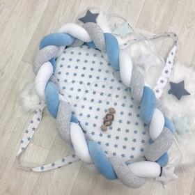 Кокон-бортик Коса серо-голубой