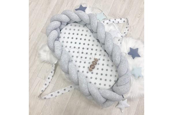 Кокон-бортик Коса серый