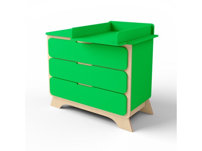 Комод с пеленальным столиком Nova зеленый/натуральное дерево
