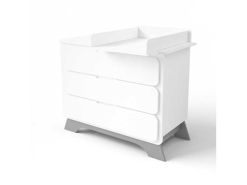 Комод с пеленальным столиком Nova серый/белый