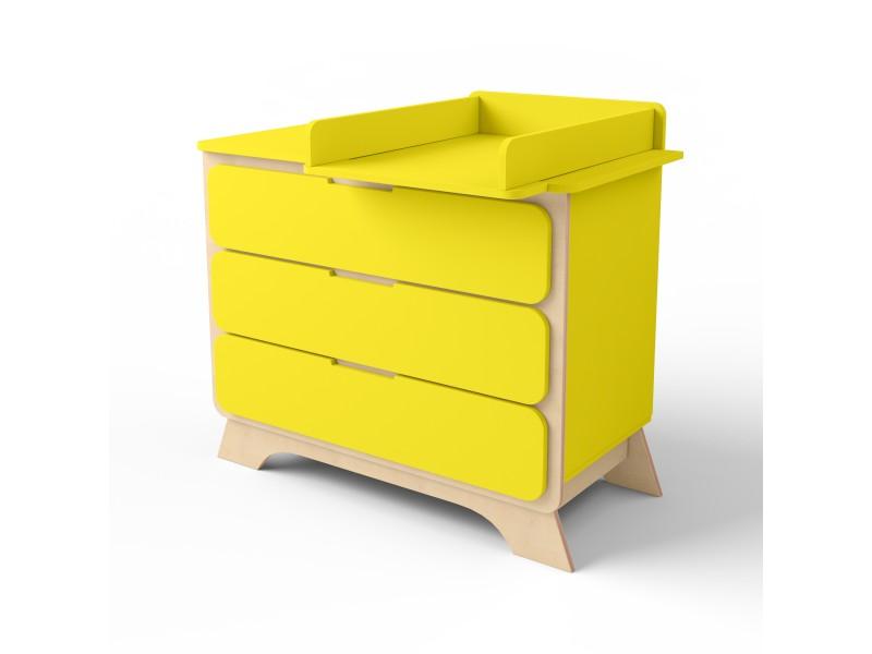 Комод с пеленальным столиком Nova желтый/натуральное дерево