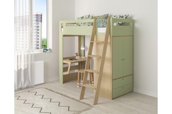 Кровать-чердак Smart Cube зеленая