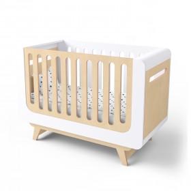 Кроватка-трансформер для новорожденного Bubble белая/натуральное дерево