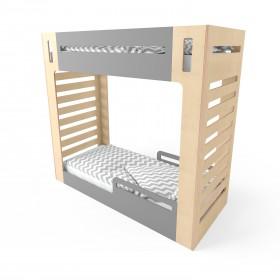 Кровать двухъярусная CuRocks 2.0 натуральное дерево/серая