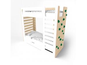 Кровать двухъярусная со скалодромом CuRocks белая