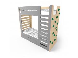 Кровать двухъярусная со скалодромом CuRocks серая