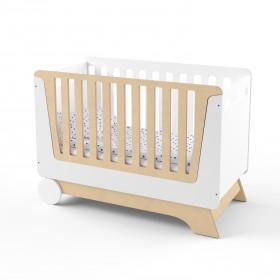 Кроватка-трансформер для новорожденного Nova Kit белая/натуральное дерево