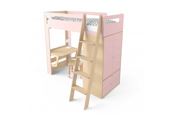 Кровать-чердак Smart Cube розовая