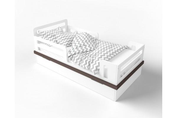 Кровать Cloud белый/натуральное дерево (с ящиком)