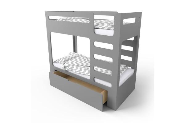 Кровать двухъярусная cuBED серая с ящиком