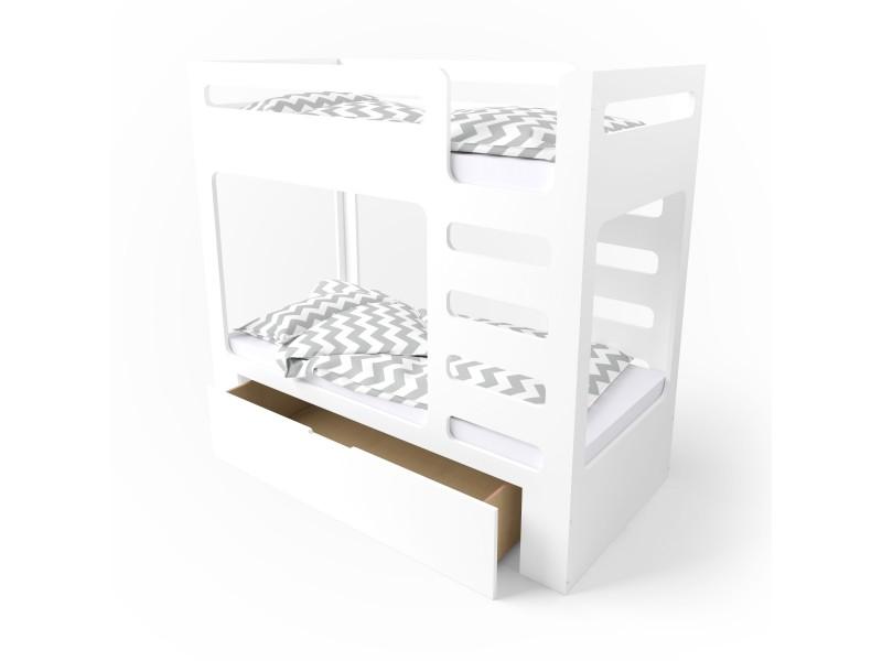 Кровать двухъярусная cuBED с ящиком белая