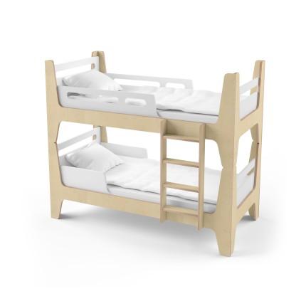Кровать двухъярусная Tower Duo белая/натуральное дерево
