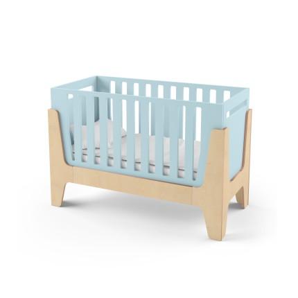 Кроватка-трансформер для новорожденного Tower Baby голубая/натуральное дерево