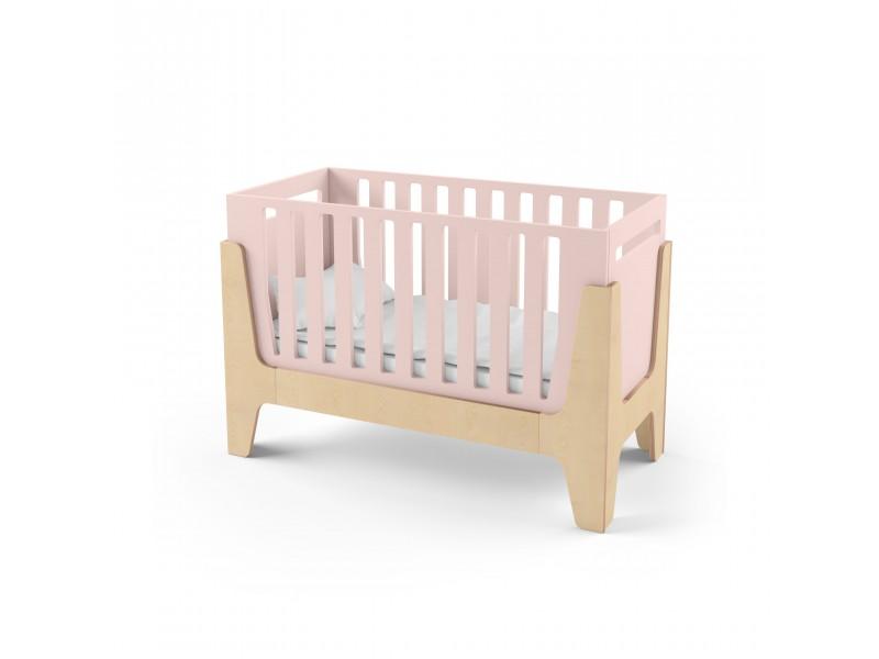 Кроватка-трансформер для новорожденного Tower Baby розовая/натуральное дерево