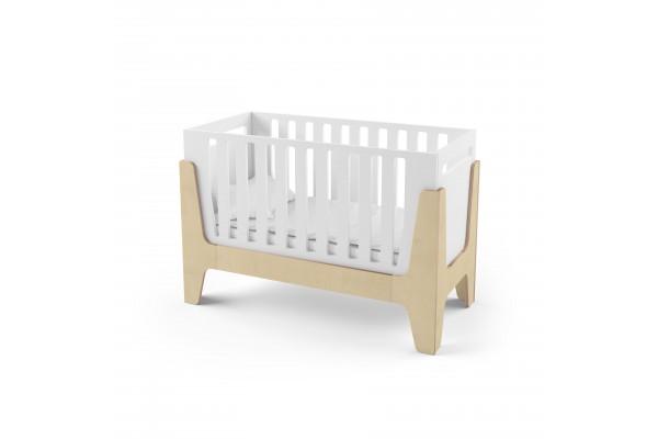 Кроватка-трансформер для новорожденного Tower Baby белая/натуральное дерево