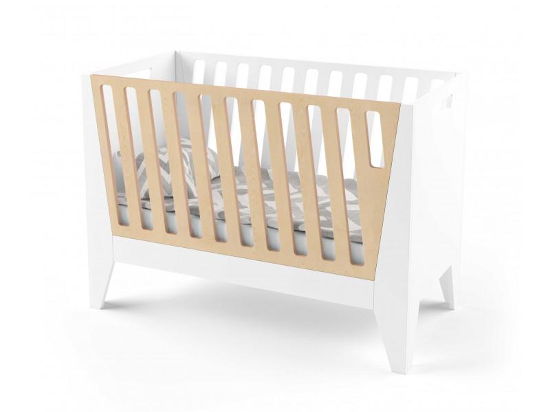 Кроватка для новорожденного Scandic белая/натуральное дерево