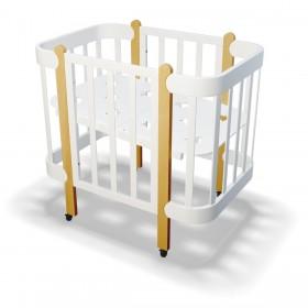 Кроватка-трансформер Nika белая/натуральное дерево