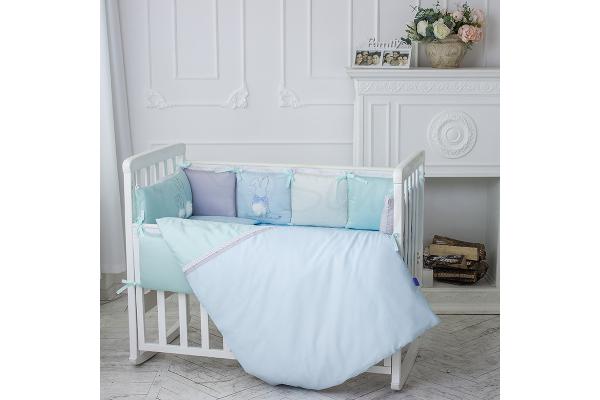 Комплект в детскую кроватку Bunny (голубой)
