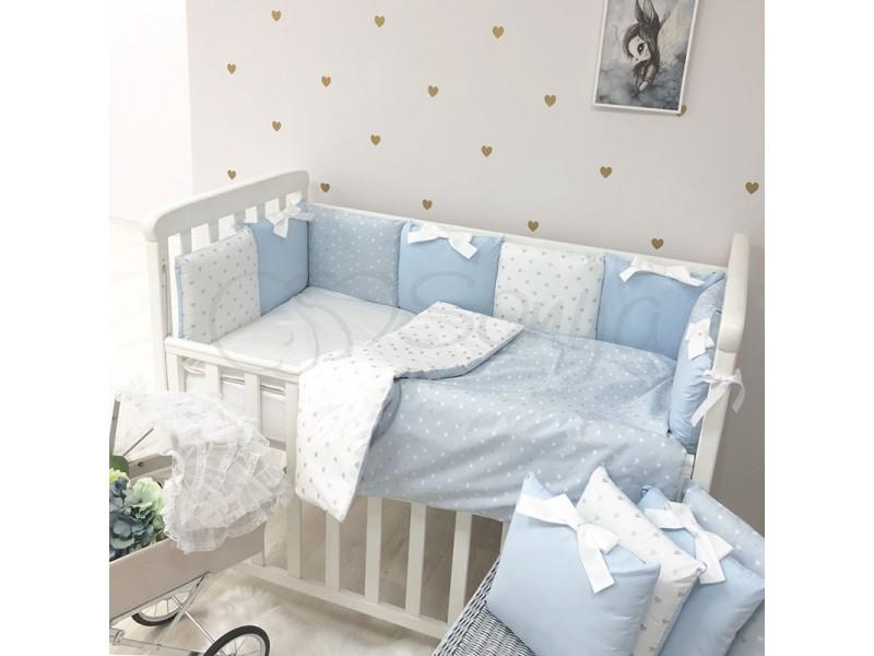 Комплект в детскую кроватку Shine (голубой сердце)