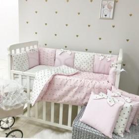 Комплект в детскую кроватку Shine (розовый сердце)