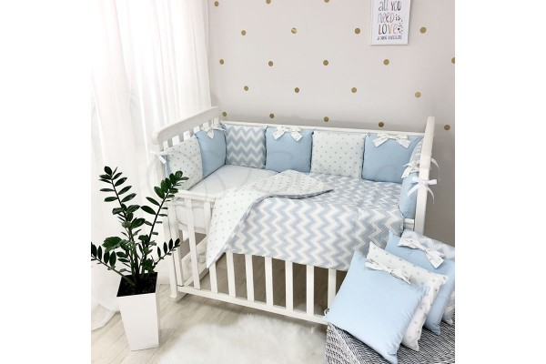 Комплект в детскую кроватку Shine (голубой волна)