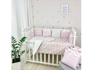 Комплект в детскую кроватку Shine (розовый волна)