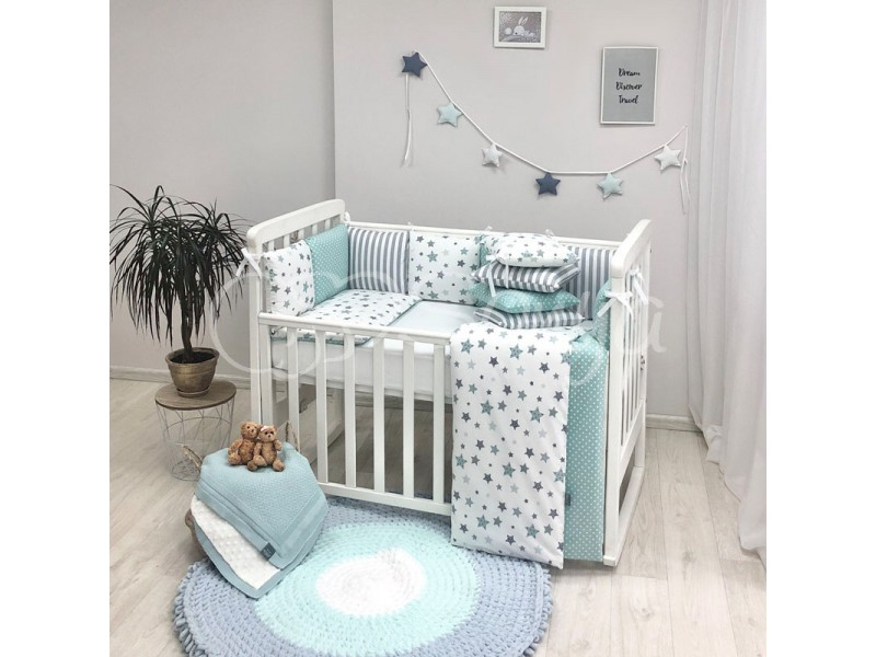 Комплект в детскую кроватку Stars mint