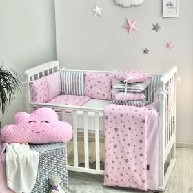 Комплект в детскую кроватку Stars pink (с полосками)