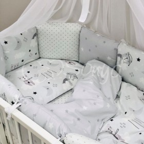 Комплект в детскую кроватку Cats (gray)
