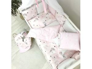 Комплект в детскую кроватку Cats (pink)