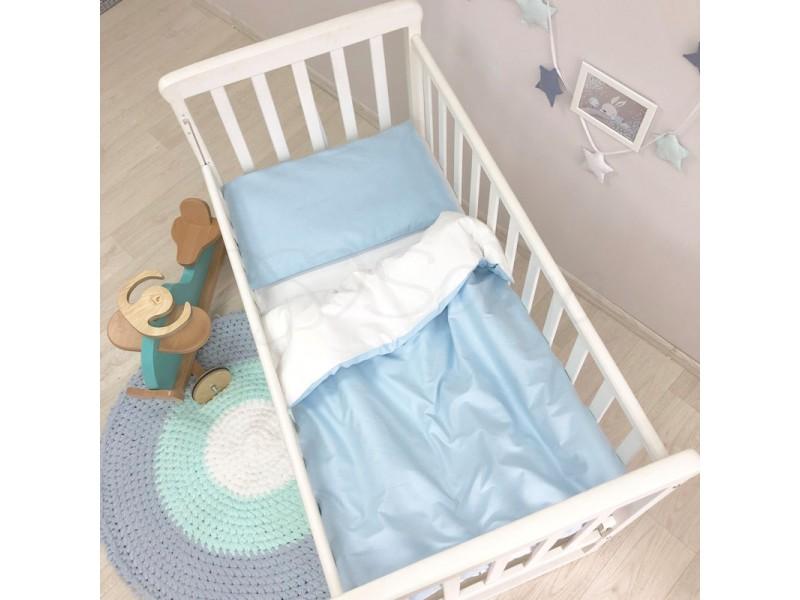 Сменный комплект в детскую кроватку голубой