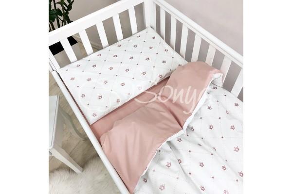 Сменный комплект в детскую кроватку Короны пудровый