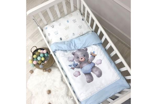 Сменный комплект в детскую кроватку Bear blue