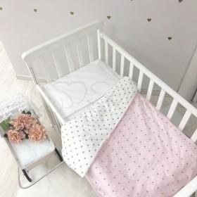Сменный комплект в детскую кроватку Heart розовый