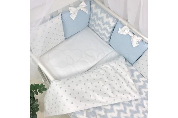 Сменный комплект в детскую кроватку Wave голубой