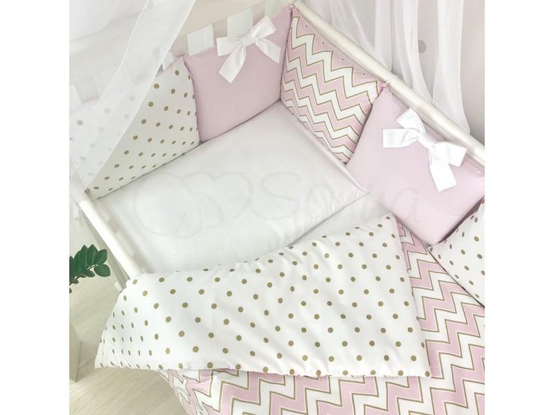 Сменный комплект в детскую кроватку Wave розовый