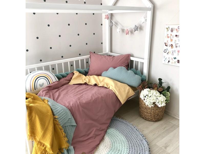 Сменный комплект постельного белья подростковый горчица/ягода