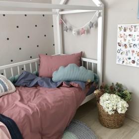 Сменный комплект постельного белья подростковый ягода/джинс
