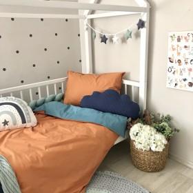 Сменный комплект постельного белья подростковый терракот/аквамарин
