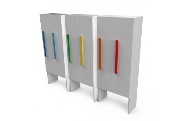 Шкаф для раздевалки с дверками 2 секции белый