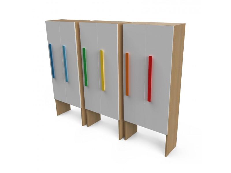 Шкаф для раздевалки с дверками 2 секции белый/натуральный