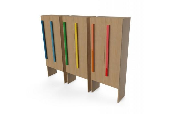 Шкаф для раздевалки с дверками 2 секции натуральный