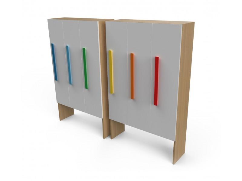 Шкаф для раздевалки с дверками 3 секции белый/натуральный