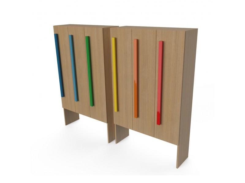 Шкаф для раздевалки с дверками 3 секции натуральный