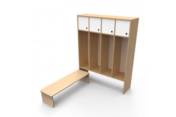 Шкаф для раздевалки с дверками 4 секции