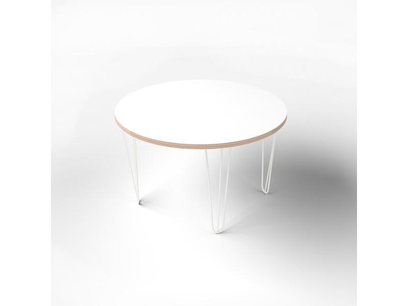 Стол круглый с покрытием hpl-пластика и белыми металлическими ножками