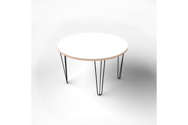 Стол круглый с покрытием hpl-пластика и черными металлическими ножками